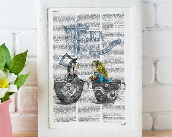 Alice in wonderland- Alice Tea with friends - Mad hatter tea party - Art print on dictionary page, Wall hanging ALW034