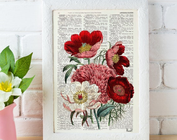 Red Pink White Gorgeous Flower bouquet wall print printed on Vintage Encyclopedia page best choice for Christmas gifts BFL057b