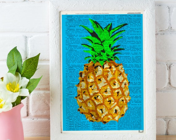 Tropical Pineapple poster print, giclee art print Wall art pineapple original artwork Dictionary page BFL095