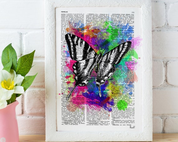 Christmas gifts for mom Wall art home decor. Watercolor collection Butterfly 02 Printed on Vintage Dictionary Book page. Wall decor BFL008