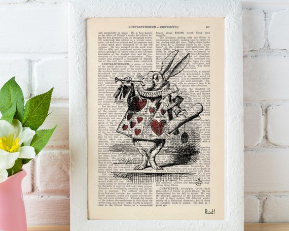 Christmas gifts for her Alice in Wonderland White Rabbit Print on Vintage Dictionary Book ALW015