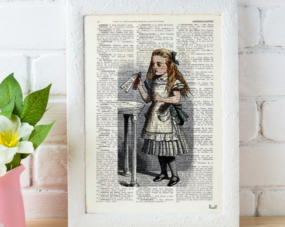 Christmas gifts for her Alice in Wonderland Decor,Wall Print  Alice: drink me illustration wall art Print on Vintage Dictionary, gift ALW041