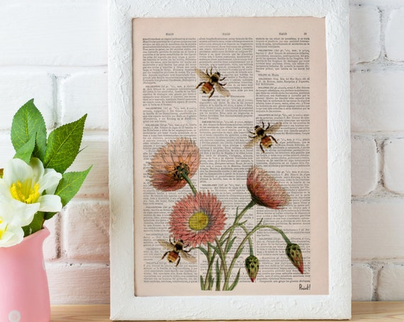 Wall art home decor Bees with flowers 2 Dictionary art poster print- Wall decor bees insect wall hanging gift  BFL004