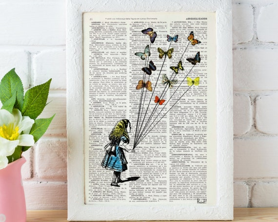 Alice in wonderland  Alice and the flying butterflies Alice in Wonderland Collage Print on Vintage Dictionary ALW023