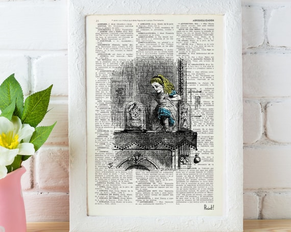 Christmas gifts for her Alice in wonderland Alice in Wonderland  Alice through the mirror  Print on Vintage  Book art ALW008