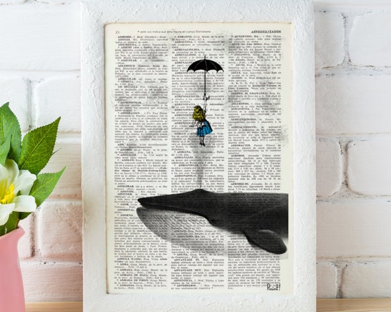 Alice in the Sky with Umbrella (and a Whale) Collage Print perfect for Christmas gifts ALW026b