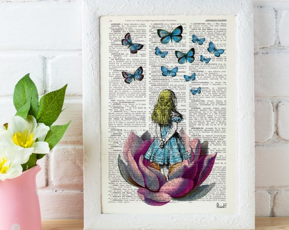 Alice in Wonderland Looking for a blue butterfly Alice in Wonderland Collage Print on Vintage Dictionary Book ALW013b
