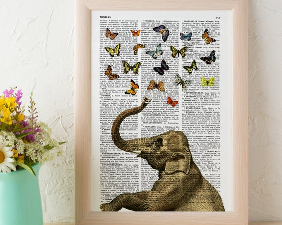 Elephant in love counting butterflies, Wall art, Wall decor,   Vintage Book sheet, Nursery wall art,  ANI088
