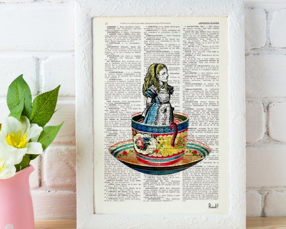 Alice in wonderland Alice in a tea cup Collage Print on Vintage Dictionary page ALW011b