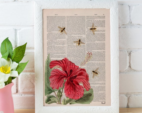 Bees and the Hibiscus on Dictionary page the best for gifts BFL003