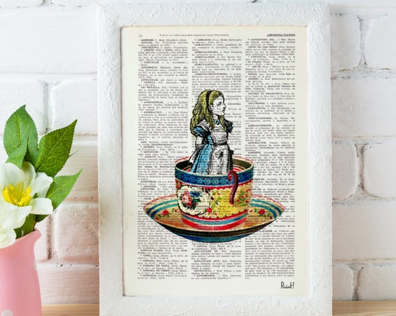 Christmas gifts for her Alice in Wonderland Alice in a tea cup Mad hatter tea party  illustration print on dictionary, Wall hanging, ALW011