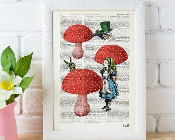 Alice in wonderland  Alice finding friends Alice in Wonderland Collage Print on Vintage Dictionary Book art ALW022