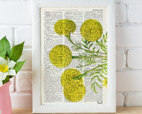 African marigold flower Botanical on Dictionary Wall Decor perfect for Christmas gifts BFL074b