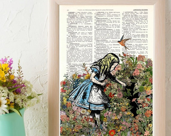 Alice in wonderland searching for a friend.  Alice in Wonderland wall art, Wall decor Alice print, nursery art ALW045