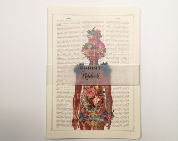 Girl Power Blank pages  feminist notebook with an Anatomical ilustration with vintage flowers NBSKA115