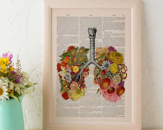 Flowery Lungs human Anatomy Print on dictionary. Anatomy art, love art, human anatomy art, wall decor SKA062