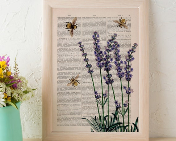 Three Bees loves Lavender flowers wall decor printed on Vintage Dictionary page perfect for gifts  BFL117b
