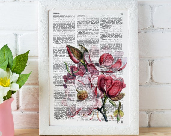 Magnolia Flower Vintage Book Print perfect for gifts   BFL040b