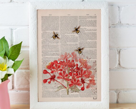 Christmas gifts for mom Bees with Geranium flowers Dictionary Page Book, Wall art print, Floral art, Bees Wall decor,  bee print art BFL001