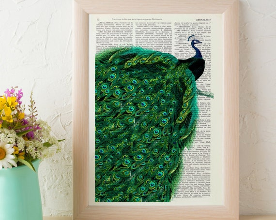 Beautiful Peacock with endless tail wall art printed on vintage Dictionary book page perfect for gifts  ANI149