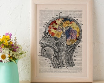 Print Flowery Brain collage Printed on Dictionary Book page. Wall decor art, Anatomy decor, Flower print art SKA053