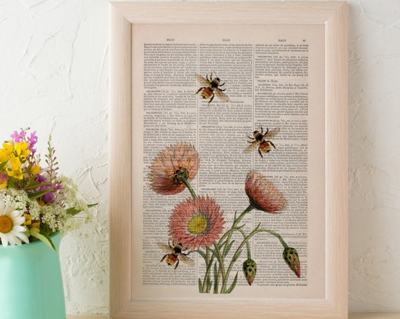 Bees with pink flowers 2 printed on VIntage Book Page the best choice as Christmas gifts BFL004b