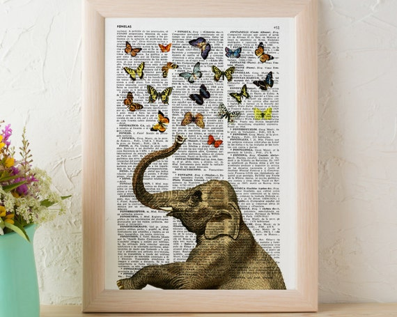 Elephant in love counting beautiful butterflies wall art printed on vintage book page perfect for gifts  ANI088b