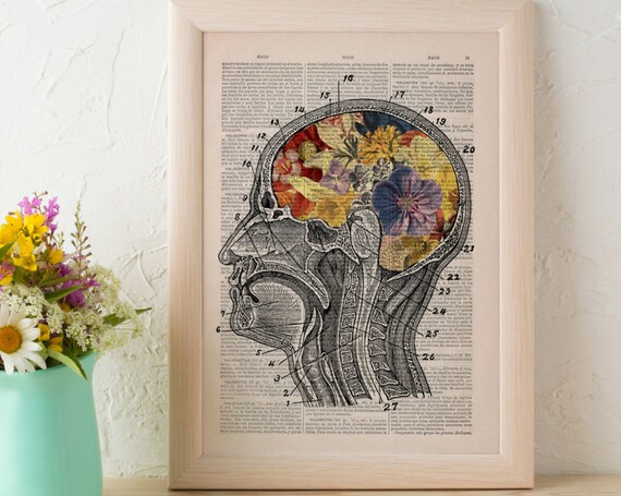 Flowery Human Brain wall art print printed on Vintage Dictionary Book page great for gifts  SKA053b