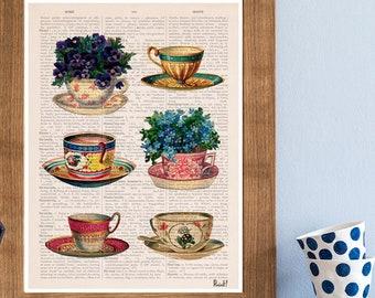 Vintage tea cups collection poster, Tea cup art, Kitchen art, art, Wall art, Wall decor, Kitchen art TVH230PA3