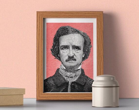 Edgar Allan Poe Portrait illustration wall poster TVH055WA4