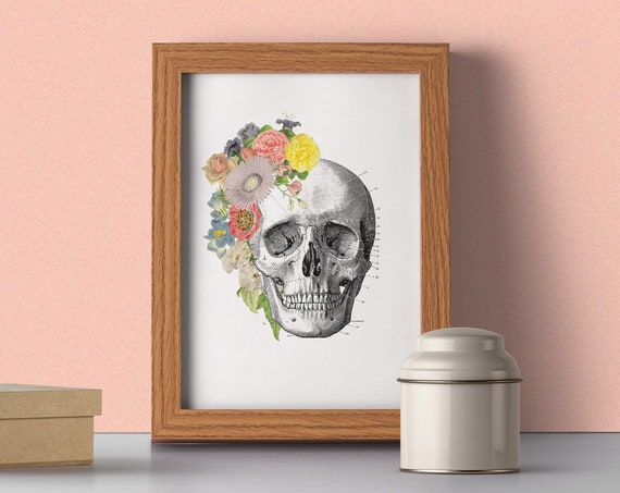 Springtime Skull, Anatomy art, Anatomical art, Wall art decor, Anatomy, Medical gift, , Gift for doctor SKA138WA4