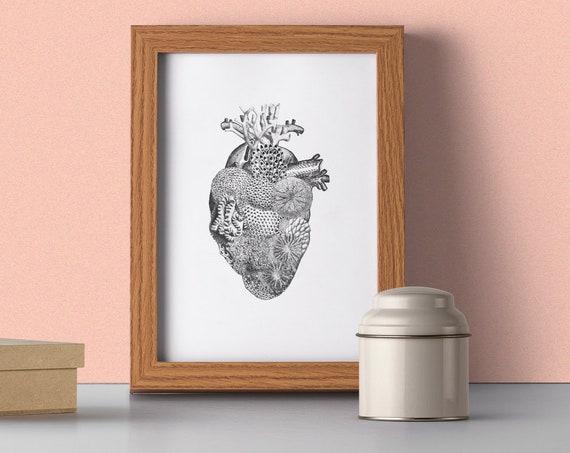 Christmas gifts for mom Heart full of Sea, Anatomical art with sea related ornament, Anatomy art, Wall art decor, Snorkeling  SKA167WA4