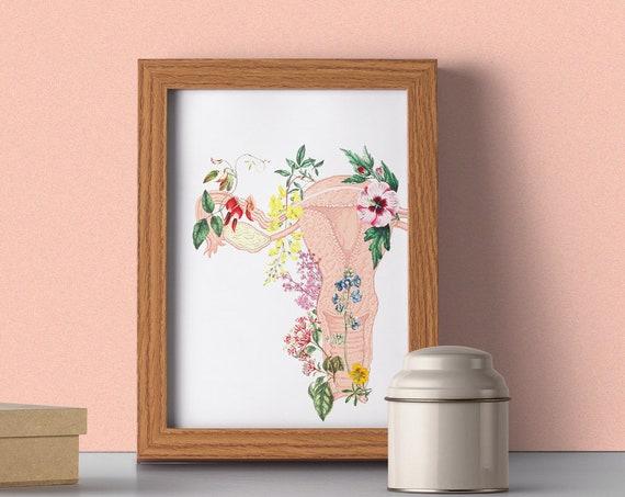 Flowery uterus feminist collage, Woman gift, feminist art, Feminist, Anatomy art, Anatomical art, Uterus, Feminist gift, Wall art, SKA111WA4
