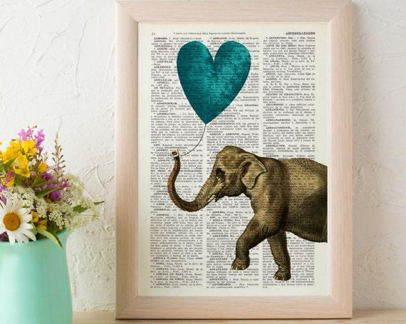 Elephant, Wall art, Wall decor,   Vintage Book sheet, Nursery wall art, Prints, Wholesale , Dorm decor, ANI216