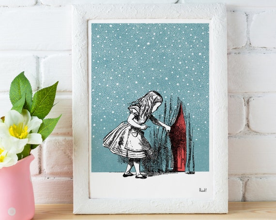 Alice in wonderland wall decor  Alice trough the sky , Wall decor Alice print, nursery wall art.poster print ALW036