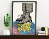The world at your feets Oxford shoes Illustration Print TVH119WA4