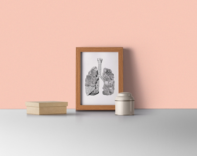 Lungs full of Sea Anatomical art with sea related ornament image 0