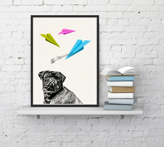 Funny pet Pug Dog with Origami print ANI133WA4