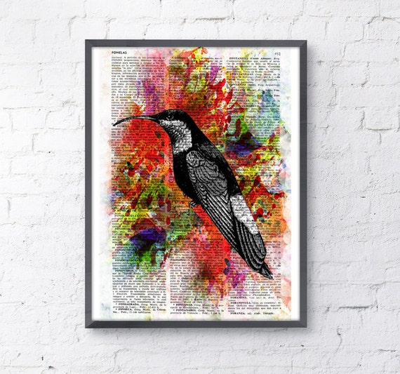 Christmas gifts for her Hummingbird Collage II wall art Print on Dictionary page altered art Hummingbird Painting Wall Decor hanging ANI109
