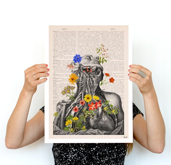 Springtime on me, white art Human anatomy print-Chic  prints art, Human anatomy and flowers art wall art, SKA101PA3