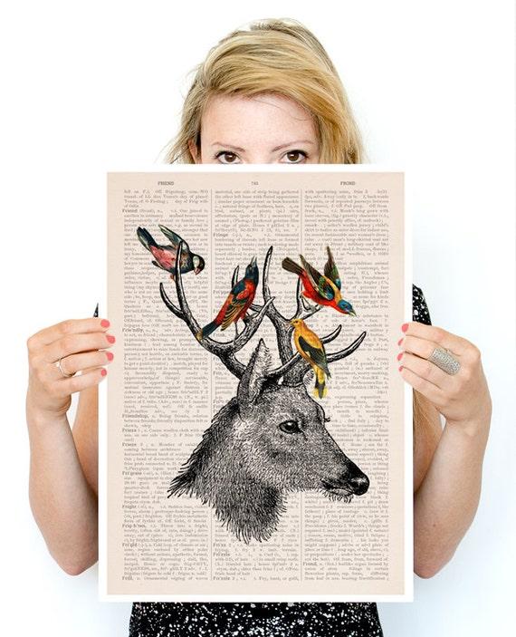 Deer with birds poster, Eco friendly art, Deer art,  Wall art, Wall decor,  poster, Animal art ANI040PA3