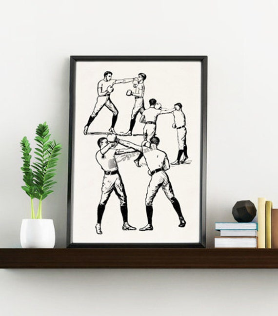 Boxers print antique sports image wall print TVH115WA4