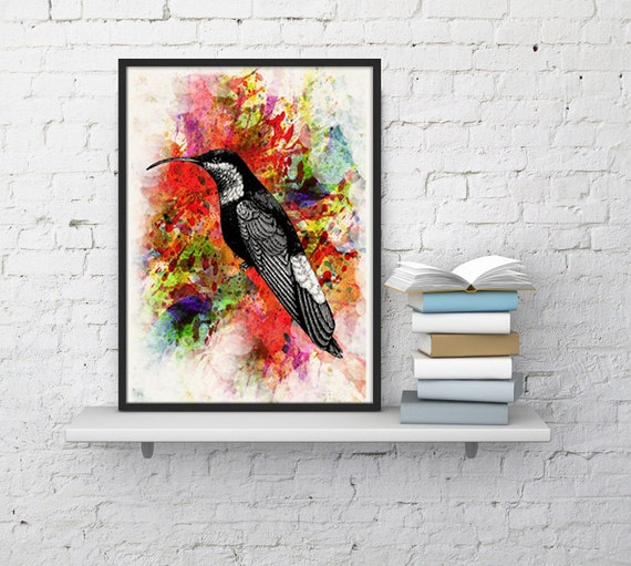 Christmas gifts for mom Watercolor Hummingbird, Wall art Home decor,  bird, Love birds art, Giclée art, Bird poster, Poster, ANI109WA4