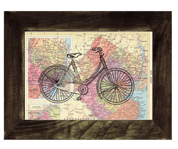 Map bike Book Print Dictionary or Encyclopedia Page Print map print bike  Print on Vintage Book art TVH04
