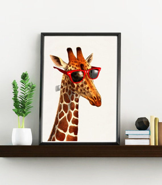 Cool Giraffe with sunglasses, Funny art, Nursery wall art, Wall art, Wall decor, Digital prints animal, Giclée, Poster, Animal art ANI008WA4