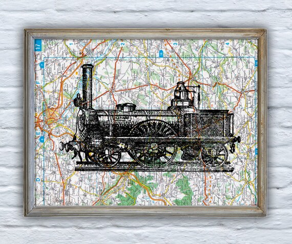 Christmas gifts for her Old locomotive  on Original France Roads Map Vintage Print, Art Print map Train art  Print on Vintage map  TVH128
