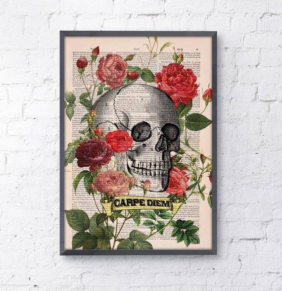 CARPE DIEM Roses Skull Tattoo art the best choice for gifts  SKA075b