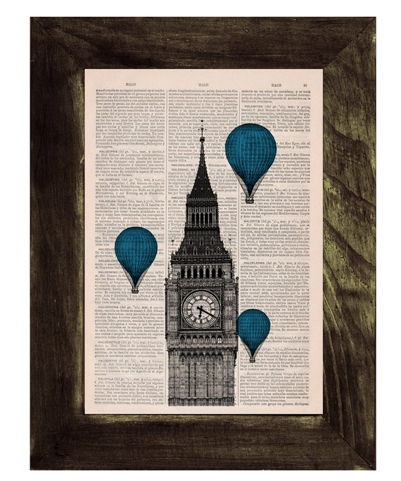 London Big Ben Tower Blue Balloon Ride Print on Vintage Book art, Wall art, Wall decor, Home decor,  TVH016