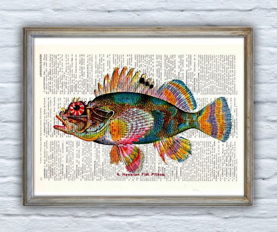Christmas Sale Vintage Book Print Dictionary or Encyclopedie Book print Hawaiian Fish(Pilikoa) Print on Vintage Bookart art SEA069