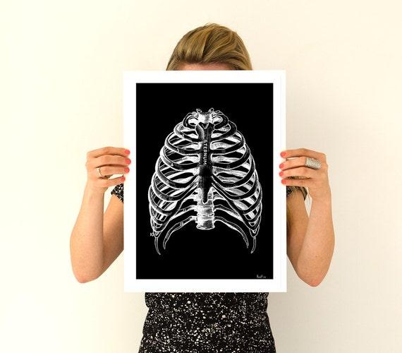 Human Rib cage, black poster Anatomy Art - Anatomical art prints, gifts for doctor wall art, SKA123WA3